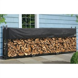 Ultimate Firewood Rack with Cover in Black