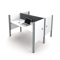 Bestar Pro-Biz 2 Person Workstation in White and Gray