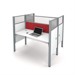Bestar Pro-Biz 2 Person Workstation in White and Red