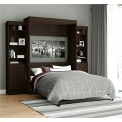 Edge Wall Bed with Storage (2 bookcaes) in Dark Chocolate