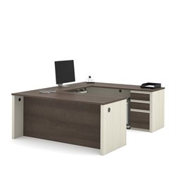 Bestar Prestige Plus U-Desk in White Chocolate and Antigua