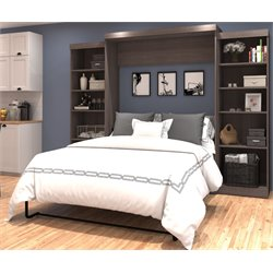 Bestar Wall Bed with Storage in Bark Gray-B