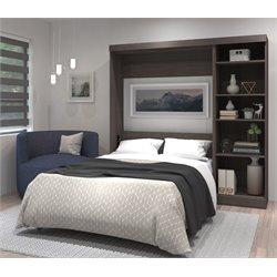 Bestar Pur Wall Bed with Storage in Bark Gray-C