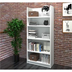 Bestar Pro-Linea 5 Shelf Bookcase in White