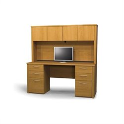 Bestar Embassy Home Office Wood Credenza Desk Set with Hutch in Cappuccino Cherry