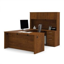 Bestar Embassy U-Desk with Hutch in Tuscany Brown