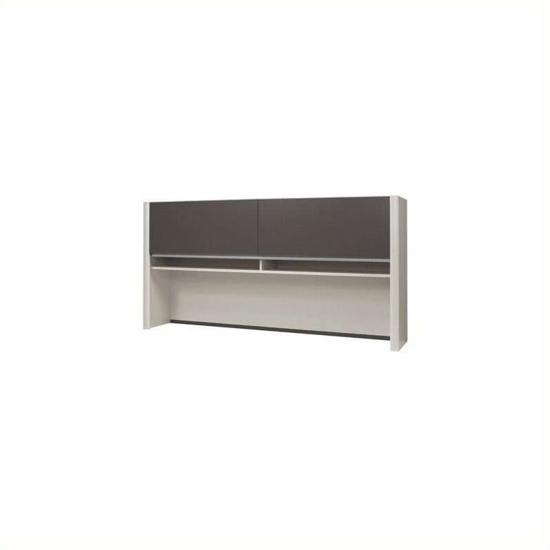 Bestar Connexion Office Credenza Hutch in Slate & Sandstone
