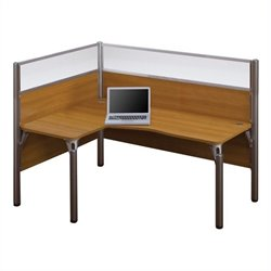 Bestar Pro-Biz Single Left L-shaped Workstation in Cappuccino Cherry