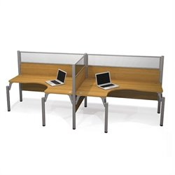 Bestar Pro-Biz Double Side by Side L-Desk in Cappuccino Cherry