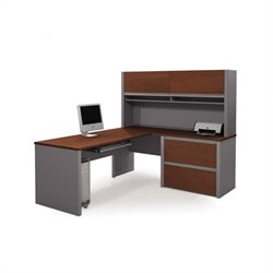 Bestar Connexion L-Shaped Office Set with 1 Oversized Pedestal in Bordeaux and Slate
