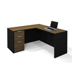 Bestar Pro-Concept L-Shaped Workstation in Milk Chocolate & Black