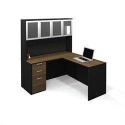 Bestar Pro-Concept L-Shaped Workstation with High Hutch and Pedestal