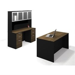Bestar Pro-Concept Executive Kit with 2 Pedestals in Milk Chocolate Bamboo & Black