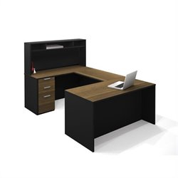 Bestar Pro-Concept U-Shaped Workstation with Small Hutch and 1 Assembled Pedestal