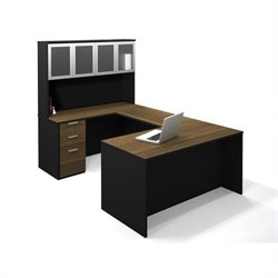 Bestar Pro-Concept U-Shaped Workstation with High Hutch and 1 Assembled Pedestal