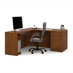 Bestar Embassy L-shaped Workstation with Assembled Pedestal in Tuscany Brown