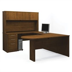 Bestar Embassy U-shaped Workstation with 1 Assembled Pedestal in Tuscany Brown