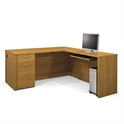 Bestar Embassy L-shaped Workstation with Assembled Pedestal in Cappuccino Cherry