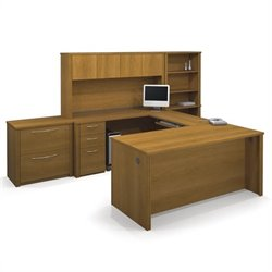 Bestar Embassy U-shaped Workstation with 2 Assembled Pedestals in Cappuccino Cherry