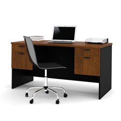 Bestar Hampton Home Office Computer Desk in Tuscany Brown & Black