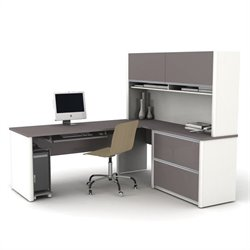 Bestar Connexion Executive L-Shaped Workstation with 1 Assembled Oversized Pedestal in Sandstone