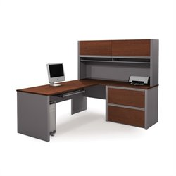Bestar Connexion Executive L-Shaped Workstation with 1 Assembled Oversized Pedestal in Bordeaux