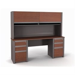 Bestar Connexion Credenza and Hutch with 2 Assembled Pedestals in Bordeaux