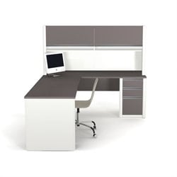 Bestar Connexion L-Shaped Workstation with 1 Assembled Pedestal in Sandstone