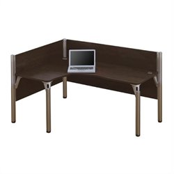 Bestar Pro-Biz Single Left L-shaped Workstation in Chocolate