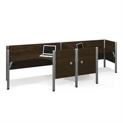 Bestar Pro-Biz Double Side by Side L-Desk in Chocolate