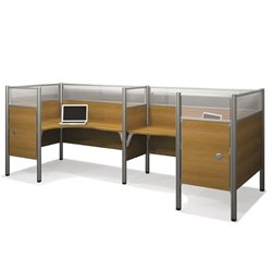 Bestar Pro-Biz Double Back to Back L-Desk in Cappuccino Cherry