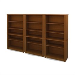 Bestar Prestige + Wood Wall Bookcase in Chocolate