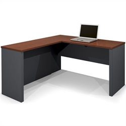 Bestar Prestige + L-Shape Computer Desk in Bordeaux and Graphite