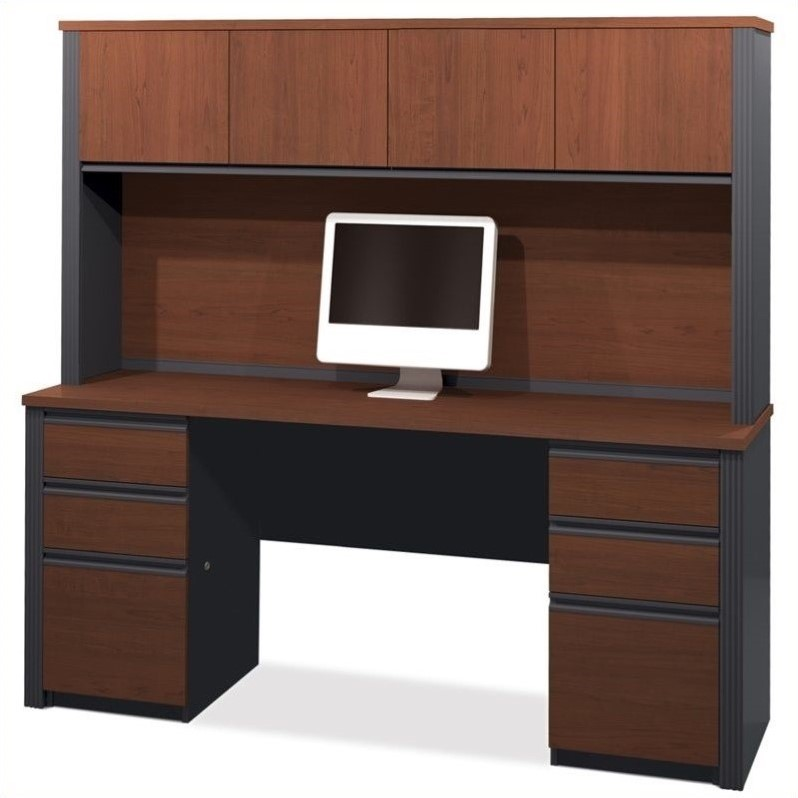 Bestar Prestige + 4-Piece Computer Desk in Bordeaux and Graphite