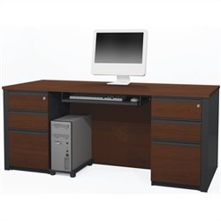Bestar Prestige + 4-Piece Executive Desk Set in Bordeaux and Graphite