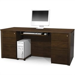 Bestar Prestige + 4-Piece Executive Desk Set in Chocolate