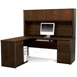 Bestar Prestige + 6-Piece L-Shape Computer Desk in Chocolate