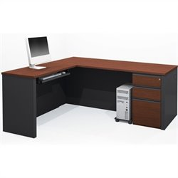 Bestar Prestige + 4-Piece L-Shape Desk in Bordeaux and Graphite