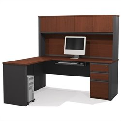 Bestar Prestige + 5-Piece L-Shape Computer Desk in Bordeaux / Graphite