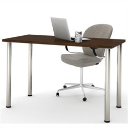 Bestar Work Table with Round Metal Leg in Chocolate