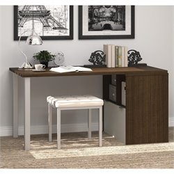 Bestar I3 Workstation with Storage Unit in Tuxedo and Sandstone