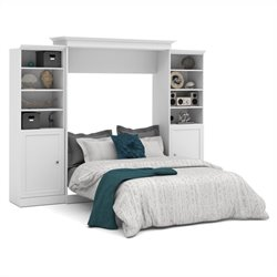 Bestar Versatile 115'' Queen Wall Bed with 2 Piece 2 Door Storage Unit