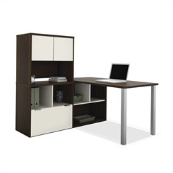 Bestar Contempo L-Shaped Desk with Hutch in Tuxedo and Sandstone
