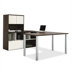 Bestar Contempo U-Shaped Desk with Hutch in Tuxedo and Sandstone