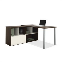 Bestar Contempo L-Shaped Desk in Tuxedo and Sandstone