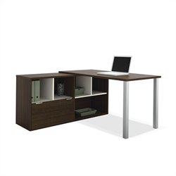 Bestar Contempo L-Shaped Desk in Tuxedo