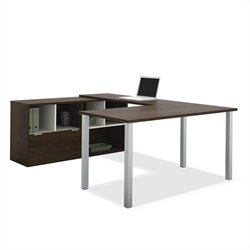 Bestar Contempo U-Shaped Desk in Tuxedo