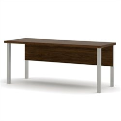 Bestar Pro-Linea Table with Metal Legs in Oak Barrel