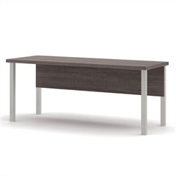 Bestar Pro-Linea Table with Metal Legs in Bark Grey