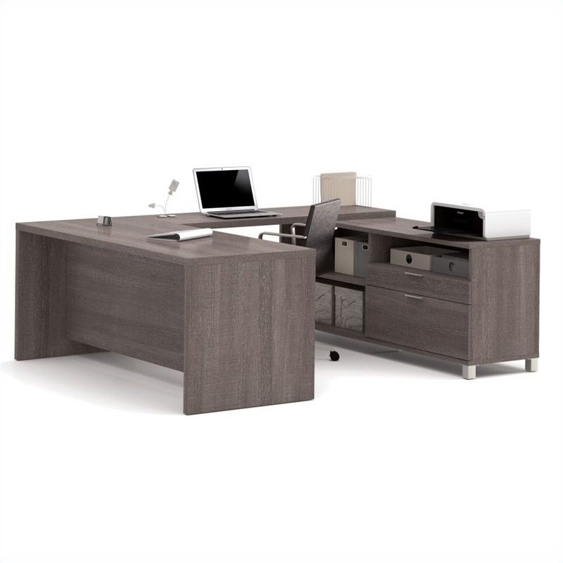 Bestar Pro Linea U Shaped Computer Desk In Bark Grey